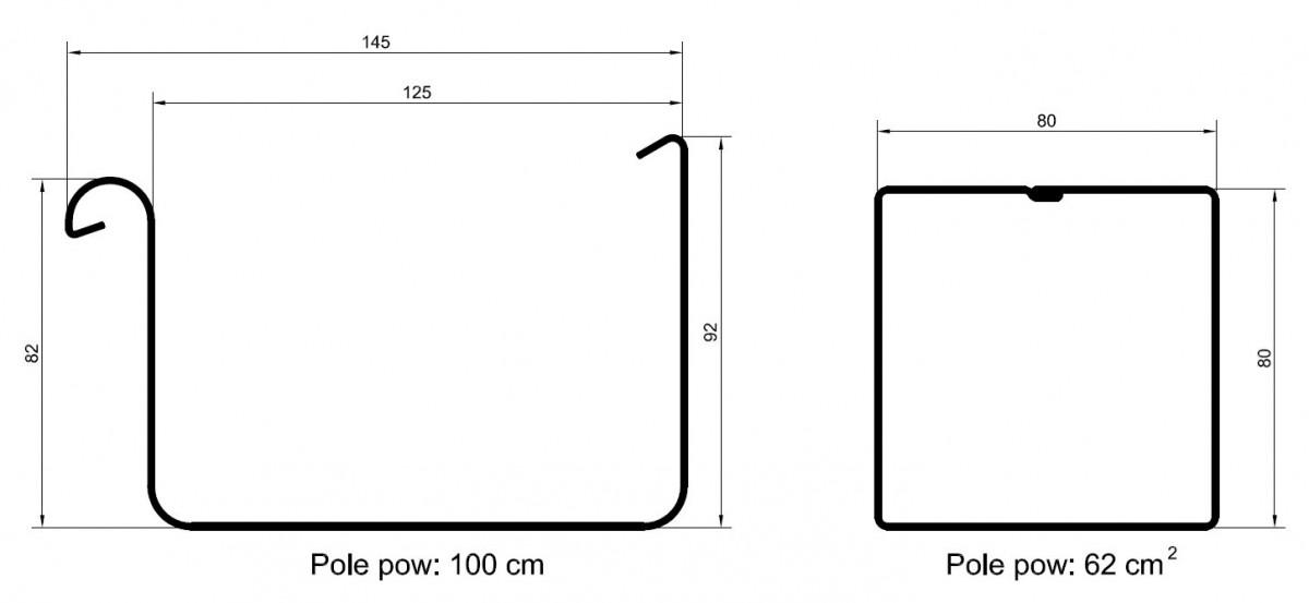 Rozmiary rynien kwadratowych w systemie Galeco STAL 2